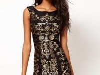 Lipsy | Lipsy Crinkle Foil Bodycon Dress at ASOS