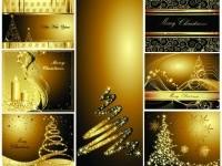 CHRISTMAS / Free vector Vector Christmas gold christmas postcards vector