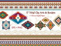 Tribal Clip Art & Border- EPS + PNG ~ Illustrations on Creative Market