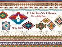 Tribal Clip Art & Border- EPS + PNG ~ Illustrations on Creative Market