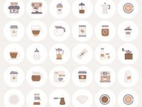 The Free Barista & Coffee Lover Flat Line Icon Set