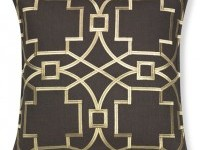 Medallion Embroidered Linen Pillow Cover, Brown/Gold   Williams Sonoma