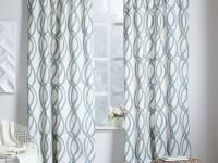 Cotton Canvas Scribble Lattice Curtains (Set of 2) - Blue Sage | west elm