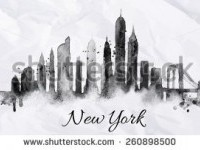 Silhouette New York City Painted Splashes ???????? ????????? ??????????? 260898500 - Shutterstock