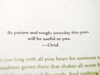 Be patient and tough; someday this pain will be useful to you. Quote by Ovid